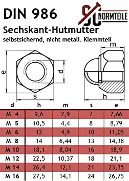 Tuerca sombrerete 50/unidades autoajustables M4/hasta M16/DIN 986/Acero Inoxidable A2