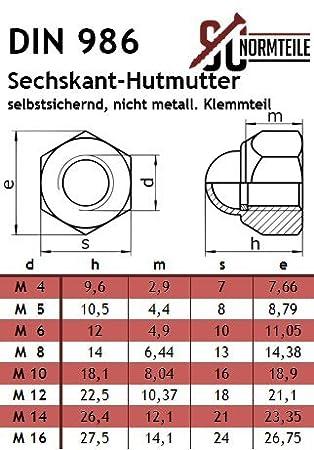 V2A - DIN 986 - SC986 - M6 - Hutmuttern SC-Normteile Edelstahl A2 Sechskant-Hutmutter mit Klemmteil selbstsichernd 10 St/ück