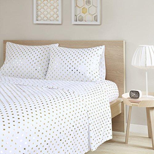 Intelligent Design Metallic Dot Printed Ultra Soft Hypoallergenic Microfiber Glam Chic Cute Sheet Set Bedding, Queen Size, White/Gold 4 Piece (Queen Set Dot Sheet)