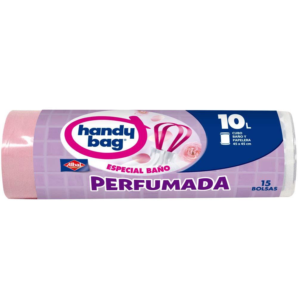 Handy Bag Bolsas de basura perfumadas, 10 l, Especial para baño, perfume floral, autocierre, antigoteo, 15 unidades