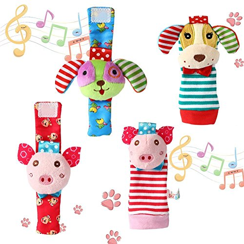 FunsLane Baby Rattle, Baby Wrist Rattles and Foot Finder Socks Toy Set, Educational Development Soft Animal Toy Shower Gift with Puppy and Piggy, 4 Packs