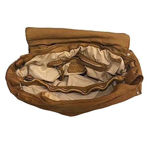 Borsa Donna Pelle Lavata Pelle Tinta In Capo Pelle Invecchiata Vintage Made In Italy Marrone Cuoio