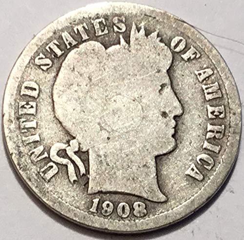 1908 Barber Dime Good