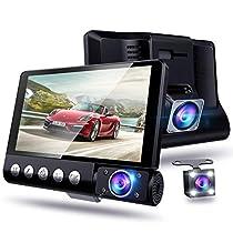 【改進版 3カメラ搭載&4.0インチ大画面】ドライブレコーダー 前後カメラ 車載カメラ 車内外同時録画 リアカメラ付き 1080PフルHD 170度広角レンズ 駐車監視 Gセンサー ループ録画 (ブラック)