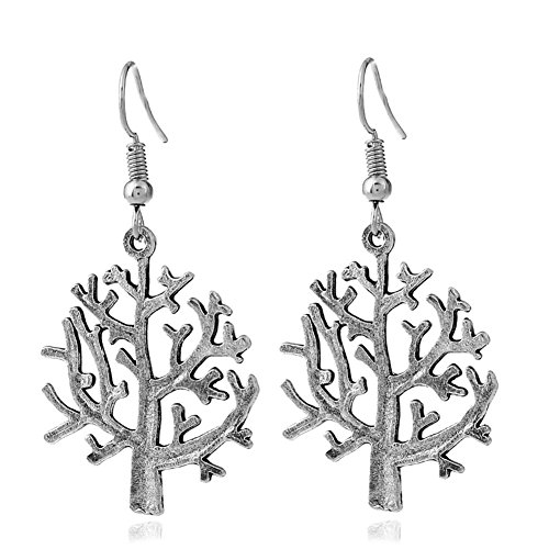 Christmas Tree Antiqued Silver-Plate Vintage Carved Handmade Chunky Ethnic Wire Hook Dangle Earrings Statement ()
