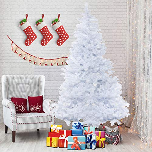 Bocca 7 FT Christmas Artificial Pine Tree Full Branches Strong Iron Stand Indoor Outdoor (White), 7FT