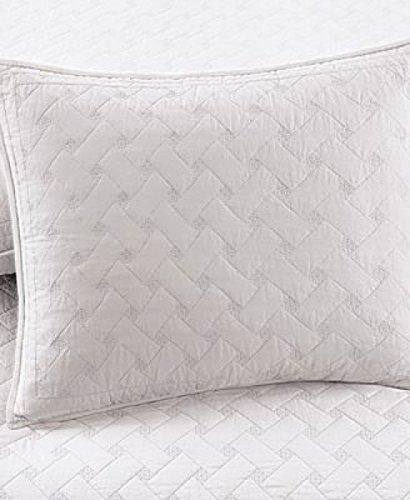 Martha Stewart Cotton Basket Stitch Quilted Standard Sham White