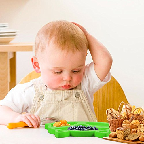 SJ Baby Placemat Fox Silicone Placemat Feeding Plate for Children, Kids, Toddlers, Non-Slip Baby Plates, Dishwasher and Microwave Safe - Soft FDA/LFGB Certified Silicone (Green) by SJ (Image #6)