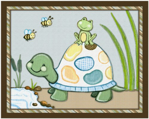 Pond Friends Wiggle Bugs Nursery Art Prints, Turtle and Frog