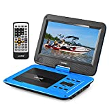 "UEME 10.1"" Portable DVD Player CD Player with Car Headrest Mount Holder, Swivel Screen Remote Control Rechargeable Battery AC Adapter Car Charger, Personal DVD Player PD-1020 (Blue)"