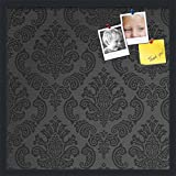 PinPix custom printed pin cork bulletin board made from canvas, Gothic Crest Pattern 24 x 24 Inches (Completed Size) and framed in Satin Black (PinPix-36)