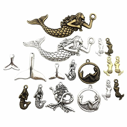 100g (about 36-40pcs) Mixed Antique Silver Antique Bronze Ocean Sealife Mermaid Charms Pendants for Bracelet Necklace Jewelry Making Findings M52 ()