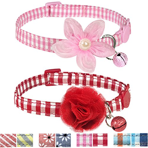 Bell Collar Designer - Pet Rejoir Handmade Creative Breakaway Cat Collars Collection- 4 Designer Patterns with Bells and Flower Accessories- Classic Checker Print Cat Collar Set- 2 Pack Neck 9~13