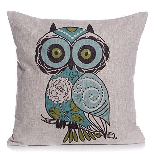 cotton-linen-square-decorative-throw-pillow-case-cushion-cover-cartoon-green-cute-cartoon-owl-18-x18