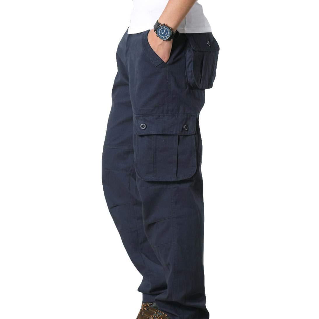 Logobeing Hombres Cargo Pants Pantalones Informales de Trabajo Casual de Bolsillo de Trabajo Deportivo Pantalón de Trabajo