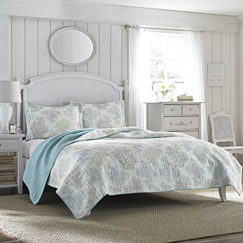 Ashley Blanket - Laura Ashley Reversible Quilt Set, Full/Queen, Saltwater Blue