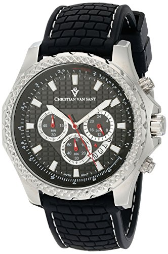 Christian Van Sant Men's CV5125 Sport Retrograde Analog Display Quartz Black Watch