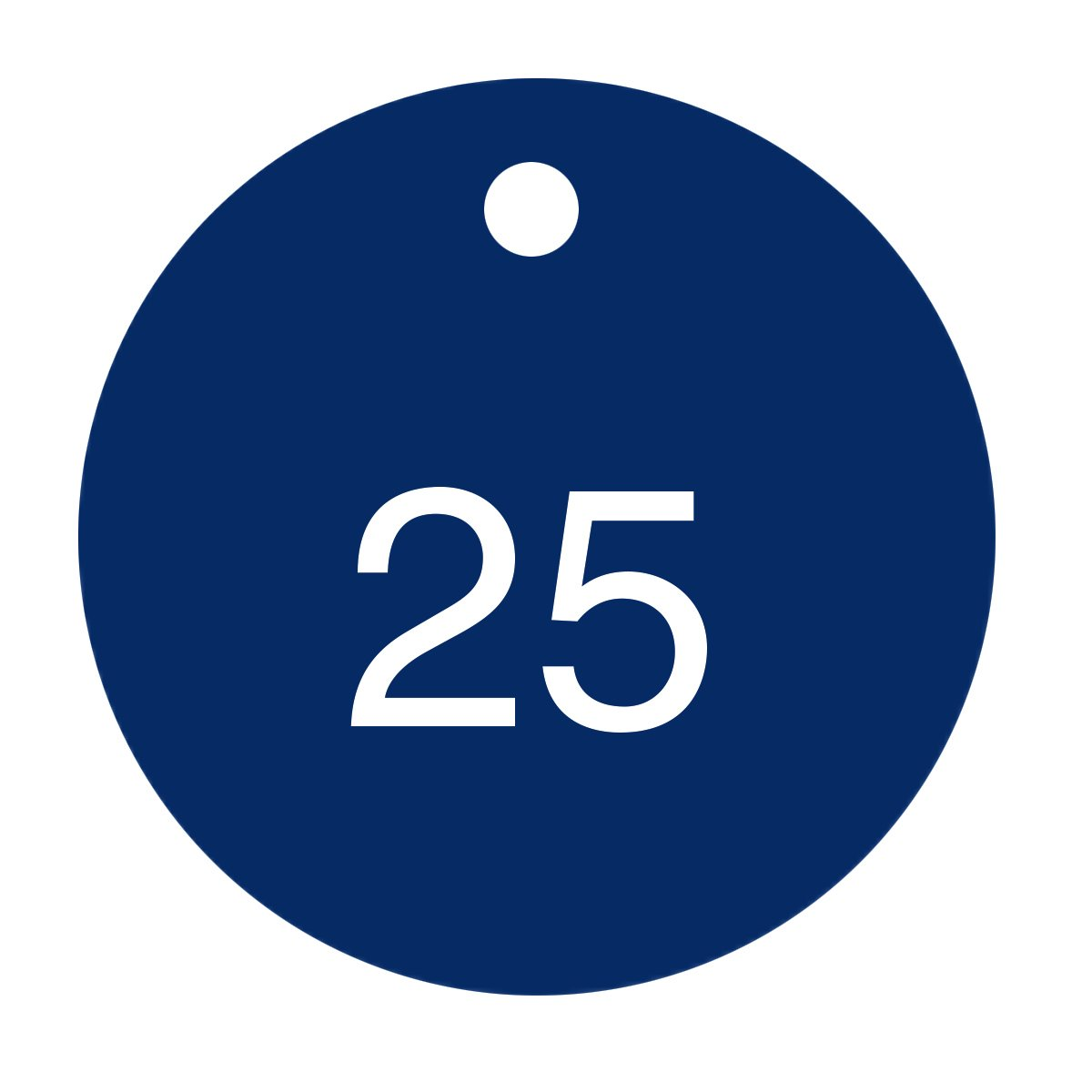 Pack of 25 1 to 25 Series White on Blue 1.5 x 1.5 Circle Accuform TDG361BU Accu-Ply Plastic Engraved Numbered Tag