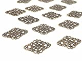 40pcs Antique Bronze Tone Filigree Hollowed-out Flower Plate rhombic Charms ...