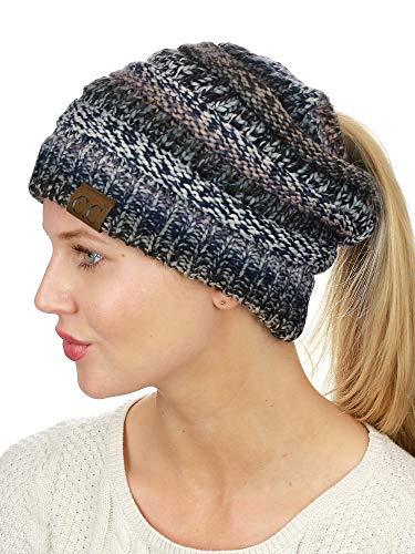 C.C BeanieTail Soft Stretch Cable Knit Messy High Bun Ponytail Beanie Hat, Black/Gray Tribal Blend