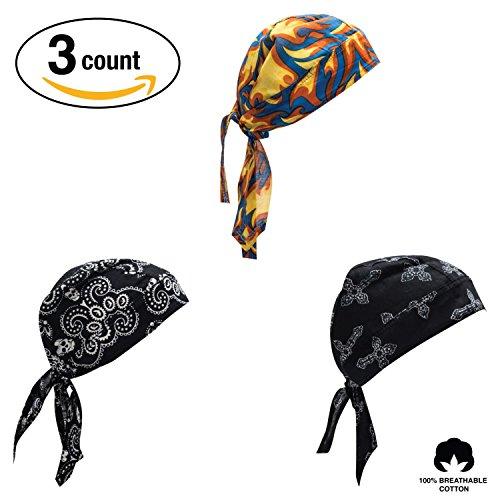 Elephant Brand Doo Rag 100% Cotton - Skull Cap Beanie for Cycling - Head Wrap Pack of 3 (Biker)