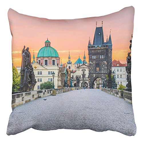Emvency Throw Pillow Covers Prague Czech Republic Charles Bridge Karluv Most Old Town Tower Decor Pillowcases Polyester 18 X 18 Inch Square Hidden Zipper Home Cushion Decorative Pillowcase -