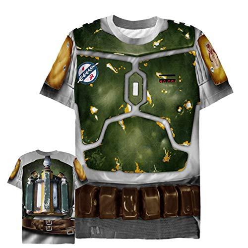 Star Wars Men's Bounty Hunter Boba Fett Costume Multi-Color All-Over Print T-Shirt]()