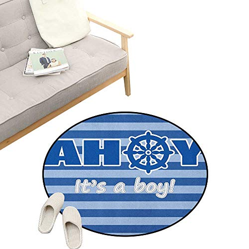 (Ahoy Its a Boy Round Area Rug Non-Slip ,Baby Shower New Birth Announcement Marine Wheel Striped Backdrop, Living Room Bedroom Coffee Table 39