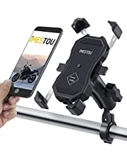 """iMESTOU Motorcycle Stem Phone Mount Bike Cellphone Holder with Double 1"""" Balls & Aluminium Handlebar Arms 720 Rotation for 3.5-6.8 Inch Phones"""