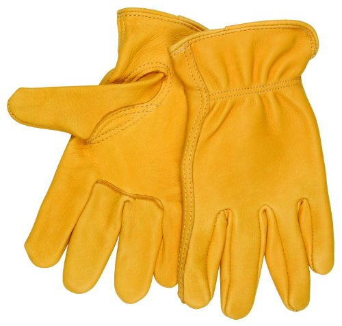 MCR Safety 3501M Regular Grade Grain Deerskin Self Hemmed Driver Gloves with Keystone Thumb, Yellow, Medium, 1-Pair -