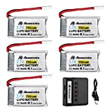 Powerextra 5 Pack 3.7V 750mAh LiPo Battery with 5 Ports Charger for Syma X5C X5A F5C MJX X200 Cheerson CX-30 CX-31 Skytech M68 Heliway 905