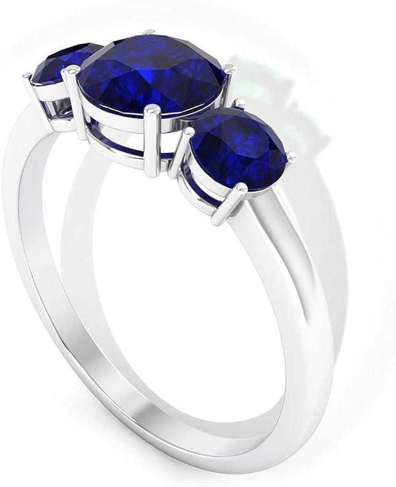 Anillo de oro de zafiro azul certificado SGL de 1,73 ct, declaración de piedras preciosas anillo de novia, clásico para mujer, apilable, anillo de promesa de boda de tres piedras