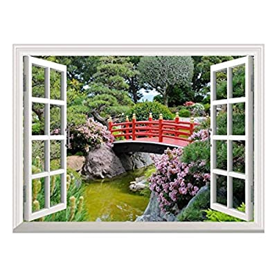 Modern White Window Looking Out Into a Red Bridge Over a Lake Surrounded by Beautiful Trees - Wall Mural, Removable Sticker, Home Decor - 36x48 inches