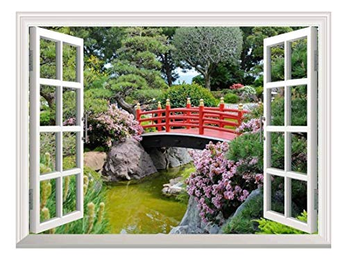 White Window Looking Out Into a Red Bridge Over a Lake Surrounded by Beautiful Trees Wall Mural