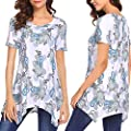 Women Lady's Casual Short Sleeve Printed Tops Irregular T Shirts Camis Tunics Blouse