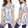 Women Lady's Casual Short Sleeve Printed Tops Irregular T Shirts Camis Tunics Blouse