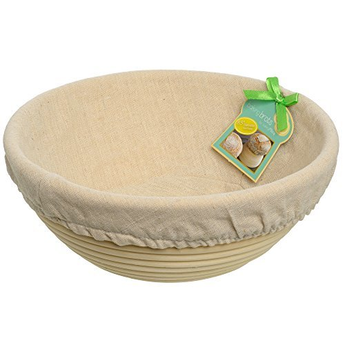 """Banneton Proofing Basket 8.5"""" Inch - Bread Proofing Basket with Linen Liner, for Brotform Dough Rounds Boules - Bread Basket by BakingMissy"""