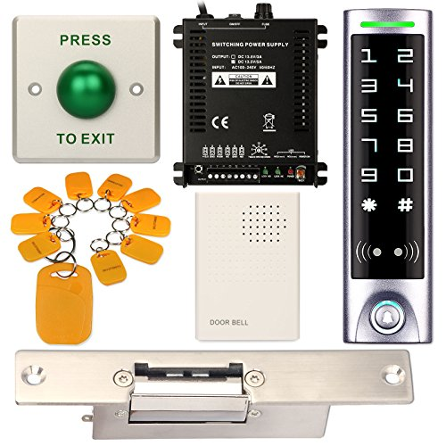 Access Control System, ZOTER Waterproof IP65 Keypad Reader RFID Card 125Khz Touch Panel + Electric Strike Door Lock Narrow Short Faceplate NO (Touch Plate Card)