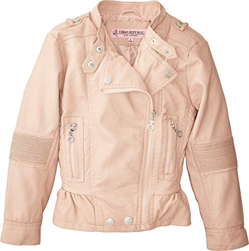 Urban Republic Kids Girl's Alice Faux Leather Moto Jacket w/Ribbed Elbow and Peplum (Little Kids/Big Kids) Rose Smoke 6X from Urban Republic Kids