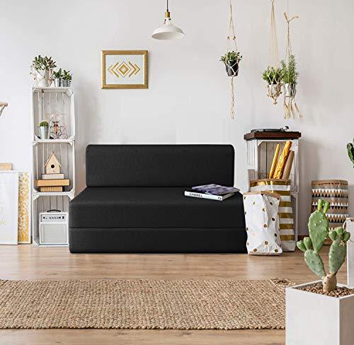Urban Wood 6x6 Feet High Density Foam Sofa Cum Bed Furniture Three Seater Black