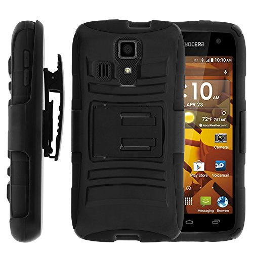 Miniturtle  2 In 1 Hybrid Dual Layer Armor Phone Case Cover With Kickstand  Holster Belt Clip  And Screen Protector For Prepaid Android Smartphone Kyocera Hydro Icon C6730  Kyocera Hydro Life C6530  Boost Mobile  Metropcs  T Mobile  Black