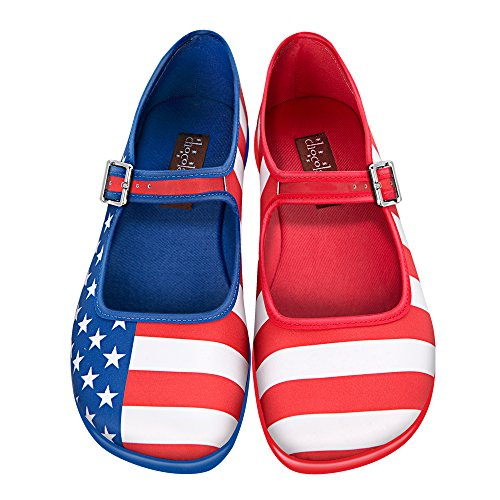 Hot Chocolate Design Chocolaticas USA Women's Mary Jane Flat Multicoloured HCD - Usa Hot Women