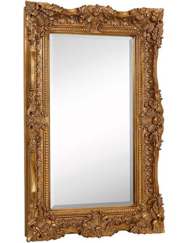 Hamilton Hills Large Ornate Gold Baroque Frame Mirror | Aged Luxury | Elegant Rectangle Wall Piece | Vanity, Bedroom, or Bathroom | Hangs Horizontal or Vertical | 100% (24