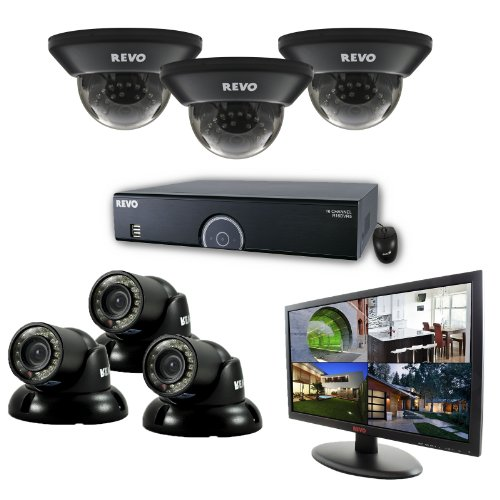 16 Channel 1TB 960H DVR Surveillance System with 6 700TVL 100-Feet Night Vision Cameras and 21.5-Inch Monitor (Black) - REVO America R165D3GT3GM21-1T