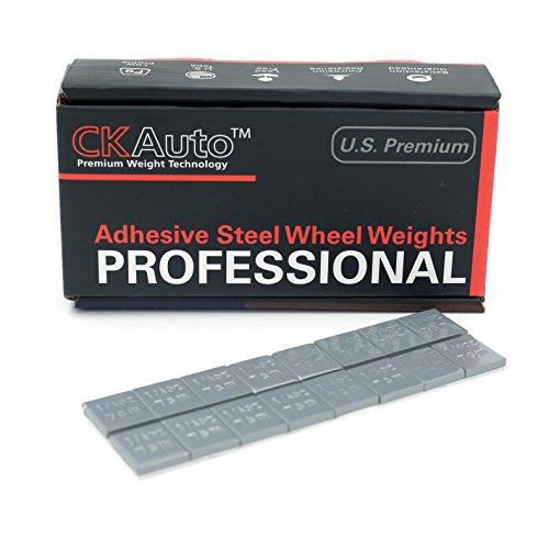 CK Auto 1/4oz, 0.25oz, Grey, Adhesive Stick on Wheel Weights, EasyPeel Type. Cars, Trucks, SUVs, Motorcycles, Low Profile, 60 oz/Box, U.S. OEM Quality, (240pcs).