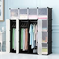 MEGAFUTURE Portable Wardrobe for Hanging Clothes, Combination Armoire, Modular Cabinet for Space Saving, Ideal Storage Organizer Cube for books, toys, towels(16-Cube)