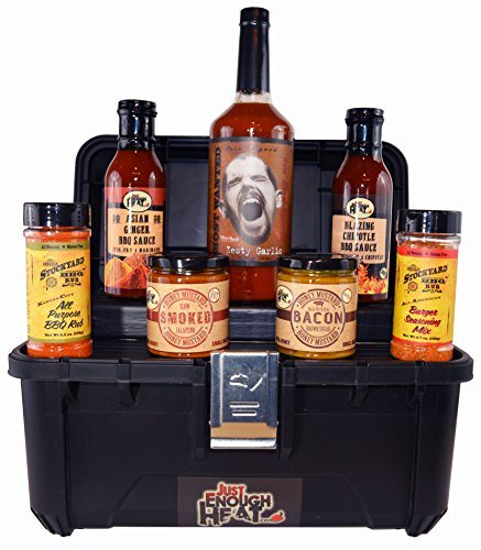 BBQ Sauce Toolbox Gourmet Gift Set - Barbecue Food Basket for Men & Women by Just Enough Heat by Just Enough Heat