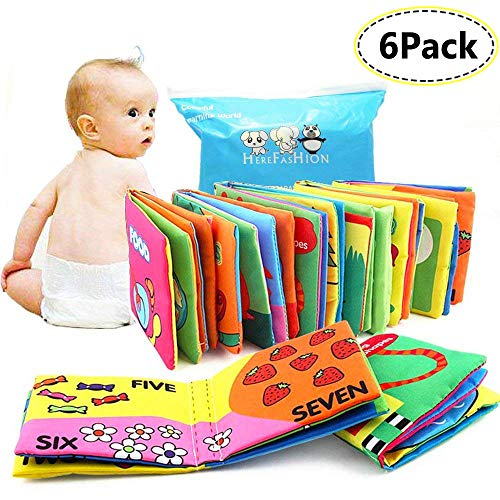 Here Fashion Baby Infant First Non-Toxic Fabric Soft Cloth Book Set Squeak Crinkle Colorful Toddler Rustling Sound Activity Learning Toys...