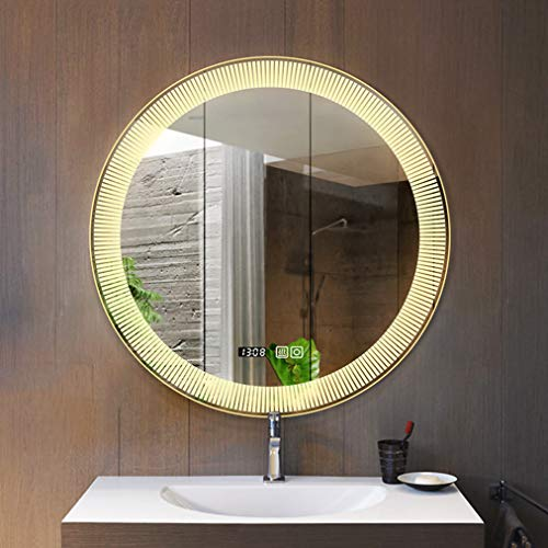 Round Wall-Mounted Sink Mirror, Bathroom LED Vanity Mirror, with Anti-Fog Function, LED - Frame Than Bathroom Mirrors Color Different Cabinets