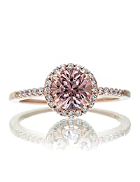 1.5 Carat Round Classic Morganite and Diamond Vintage Engagement Ring on 10k Rose Gold